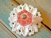 Shabby Floral Glass Knob with Floral Back