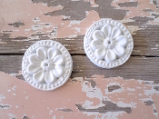 Shabby Carved Rosettes (set of 2)